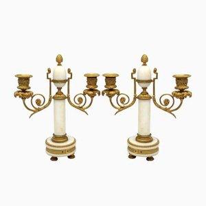 19th Century Napoleon III Gilt Bronze and Marble Candleholders, Set of 2