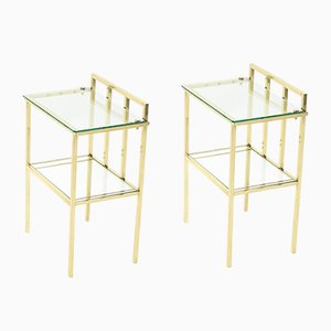 Brass and Glass Side Tables Attributed to Marc Duplantier, 1960s, Set of 2