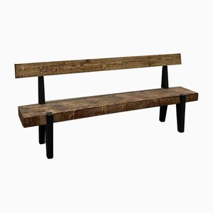 Wooden Garden Bench in the Style of J Prouve, 1950s