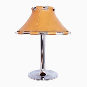 Large Leather and Chrome Table Lamp by Anna Ehrner for Ateljé Lyktan, 1970s