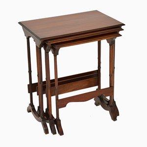 Tables Gigognes Antiques en Acajou, 1900s, Set de 3