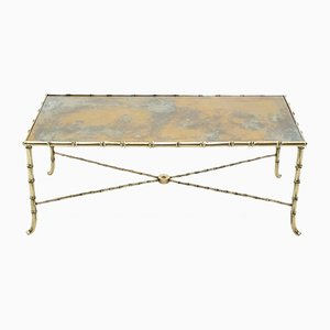 Neoclassical Brass Bamboo Coffee Table from Maison Jansen, 1960s