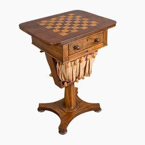 Antique Victorian English Mahogany and Rosewood Chess Game Table, 1860s