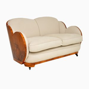 Art Deco Walnut Cloud Back Sofa from H & L Epstein, 1930s