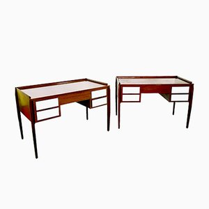 Italian Mahogany Desks in the Style of Gio Ponti, 1950s, Set of 2
