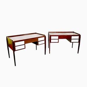 Italienische Mahagoni Schreibtische im Stil von Gio Ponti, 1950er, 2er Set