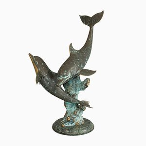 Large Vintage American Bronze Dolphin Statue, 1980s