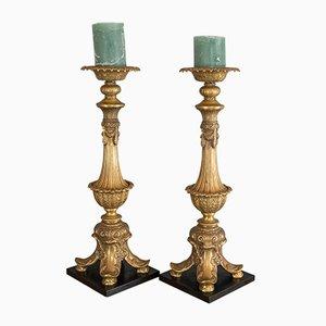 Große asiatische Vintage Kerzenhalter aus vergoldetem Metall, 1980er, 2er Set