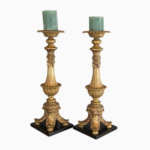 Large Vintage Asian Gilt Metal Candleholders, 1980s, Set of 2