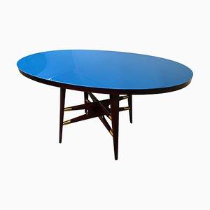Mesa de comedor italiana Mid-Century ovalada en azul de Silvio Cavatorta, años 50