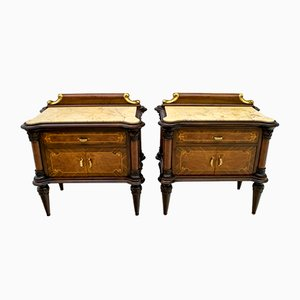 Mid-Century Italian Walnut and Marble Nightstands, 1940s, Set of 2
