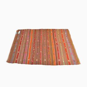 Bestickter türkischer Vintage Gestreifter Teppich aus Wolle, 1970er