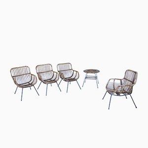 Sessel & Tisch Set aus Eisen & Bambus, 1950er