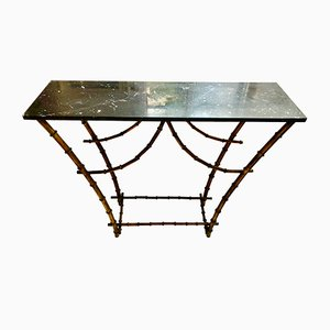 Gold Bamboo Pagode Console Table with Marble Top, 1940s