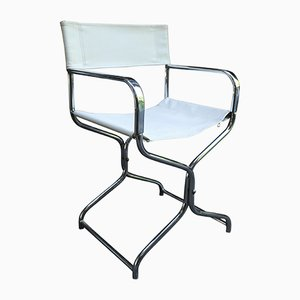White Leatherette and Tubular Chrome Folding Chair in the Style of Rafael Garcia, 1950s