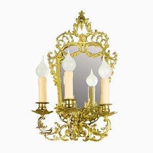 Applique Girandole specchiata a tre braccia in ottone e bronzo, anni '20