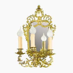 Brass and Bronze 3-Arm Mirrored Girandole Sconce, 1920s