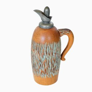 Italian Carved Wood Thermos by Aldo Tura for Macabo, 1950s