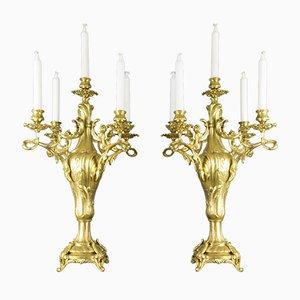 Große Kerzenhalter aus Bronze im Louis XV Stil, 1920er, 2er Set