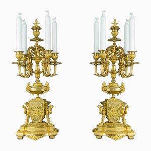 Antike Kerzenhalter aus Neoklassizistischem Gold & Bronze, 2er Set