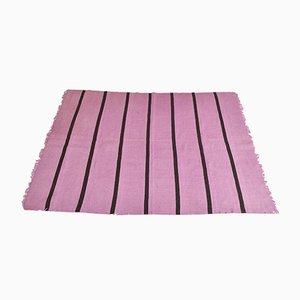 Vintage Turkish Minimalistic Purple Striped Woolen Carpet, 1980s