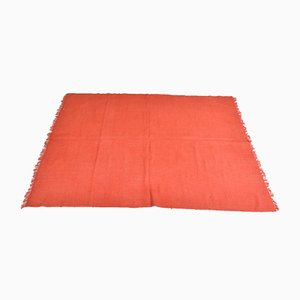 Vintage Turkish Minimalistic Solid Red Woolen Carpet, 1980s