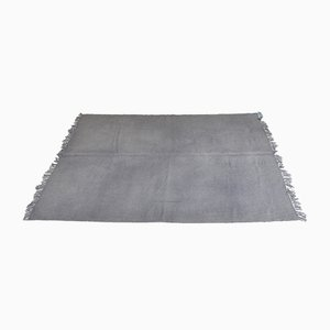 Vintage Turkish Minimalistic Solid Gray Woolen Carpet, 1980s