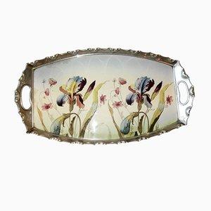 Jugendstil Porzellan & Zinn Tablett von Max Dannhorn, Villeroy & Boch für Nürnberger Metallwarenfabrik Max Dannhorn