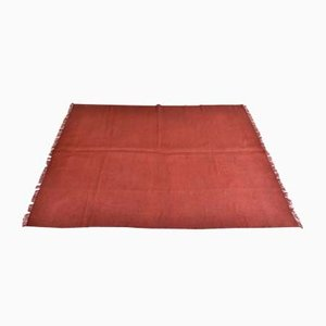 Vintage Turkish Minimalistic Dark Red Woolen Carpet, 1980s