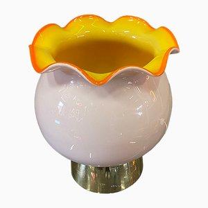 Lampada da tavolo vintage a forma di petalo in vetro di Glashütte Limburg, anni '70