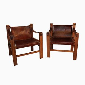 Vintage Leather and Wood Lounge Chairs, 1950s, Set of 2