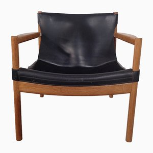 Danish Oak and Leather Armchair, 1960s