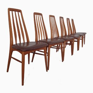 Vintage Eva Teak and leather Dining Chairs by Niels Koefoed for Hornslet Møbelfabrik, 1960s, Set of 6