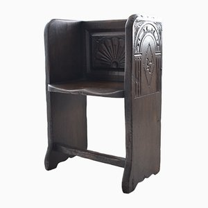 18th Century Carved Oak Church Pew Style Side Chair