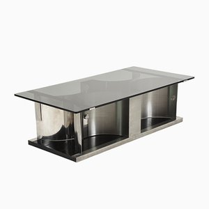 Mid-Century French Stainless Steel and Glass Coffee Table by Francois Monnet, 1970s