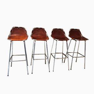 Cognac Leather Barstools by Charlotte Perriand, 1960s, Set of 4