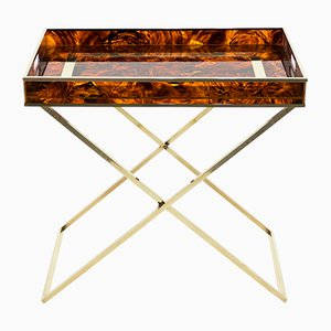 Faux Tortoiseshell and Brass Side Table from Maison Mercier, 1970s