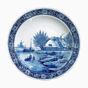 Großer Delfts Vintage Teller aus Keramik in Blau & Weiß von Petrus Regout für Delfts Royal Sphinx Maastricht, 1960er