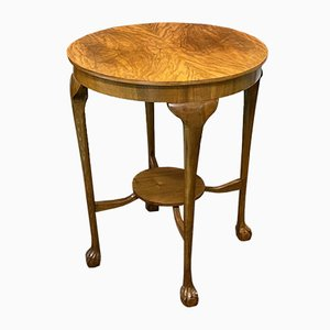 Vintage English Walnut Side Table, 1930s