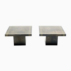 Lacquered Brass Coffee Tables by Guy Lefevre for Ligne Roset, 1970s, Set of 2