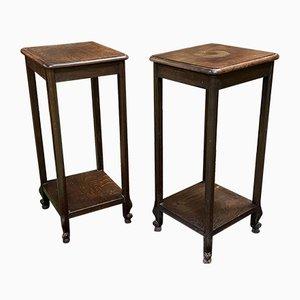 Vintage Louis XV Style Oak Side Tables, 1930s, Set of 2