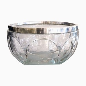 Large Art Deco Faceted Crystal and Silvered Bowl from Kirby Beard & Co, 1930s