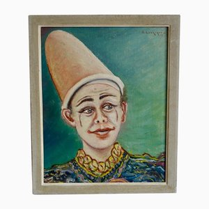 Figure of a Clown Painting by G. Labrique, 1960s