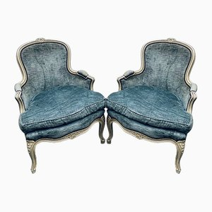 Antique French Bergere Lounge Chairs, Set of 2
