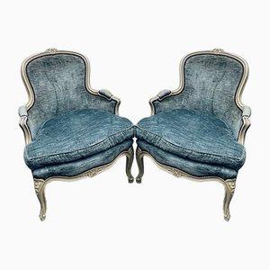 Französische antike Bergere Sessel, 2er Set