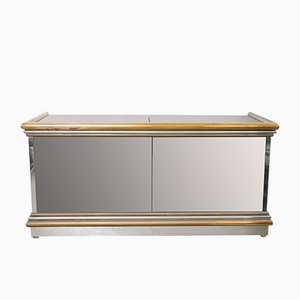 Italian Mirrored Sideboard with Electric Elevator Bar, 1970s
