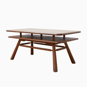 Mid-Century French Oak 2-Tier Coffee Table, 1960s