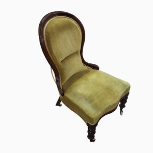 Antique Mahogany Mahogany and Green Upholstery Nursing Chair, 1910s