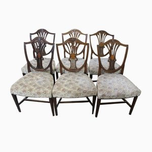 Antique Mahogany Wheatsheaf Style Dining Chairs, 1900s, Set of 6