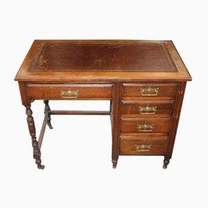 Oak and Red Leather Desk, 1920s